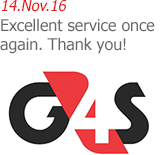 G4S Monitoring Technologies - Excellent service once again. Thank you!