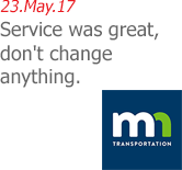 23.May.17 | MNDOT Aeronatutics - Service was great, don't change anything.