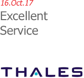 16.Oct.17 | Thales UK - Excellent Service.